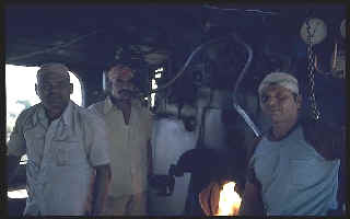 Albie (on the right)  with his firemen on their passenger link WG, based at Daund.
